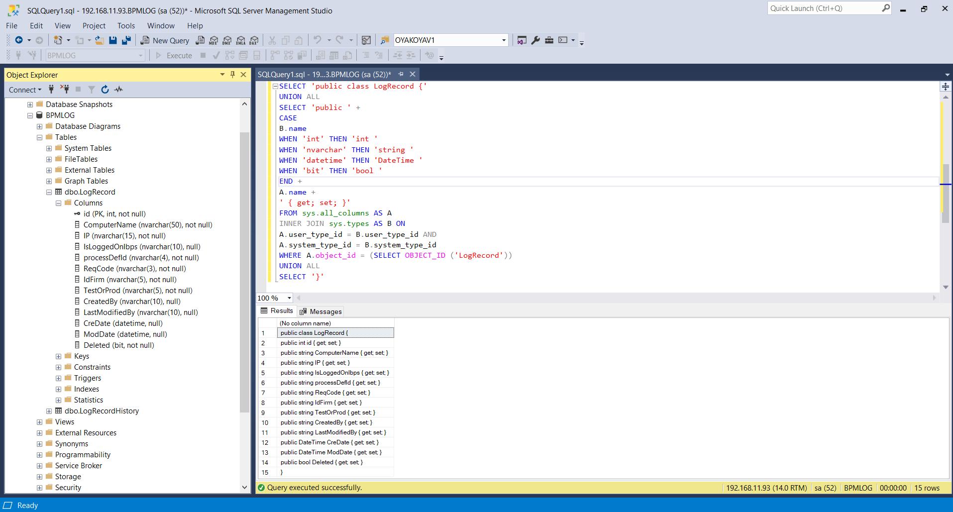 T-SQL Entity Class